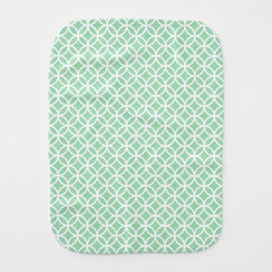 Mint Green and White Geometric Pattern Burp Cloth