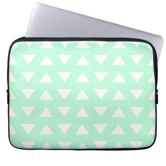 Mint Green and White Geometric Pattern. Laptop Sleeve