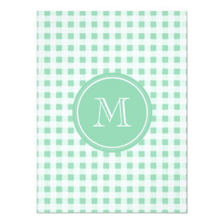 Mint Green and White Gingham, Your Monogram 17 Cm X 22 Cm Invitation Card