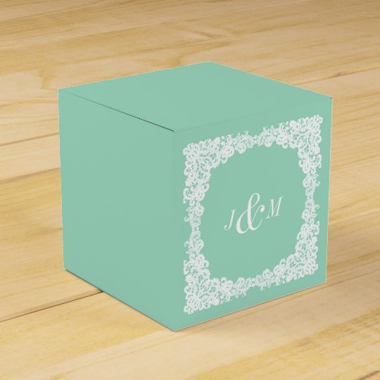 Mint green and white lace custom favour box