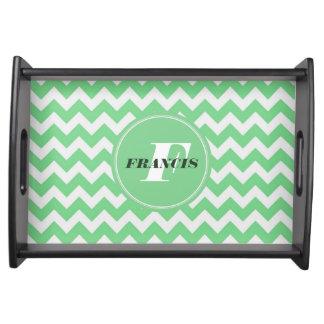 Mint-Green And White Monogram Chevron Pattern Serving Tray