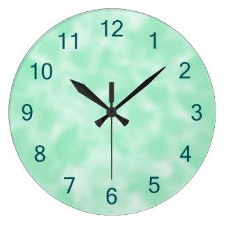 Mint Green and White Mottled Clock