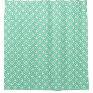 Mint Green and White Overlapping Circles Pattern Shower Curtain