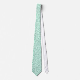 Mint Green And White Pattern Tie
