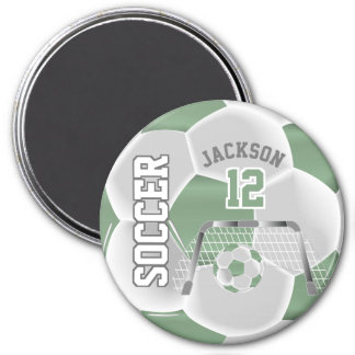 Mint Green and White Personalize Soccer Ball Magnet