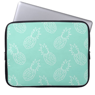 Mint Green and White Pineapple Pattern Laptop Sleeve
