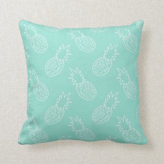 Mint Green and White Pineapple Pattern Throw Pillow