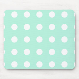 mint green and white polka dots mouse mat