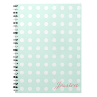mint green and white polka dots notebook