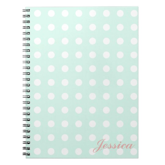 mint green and white polka dots notebooks