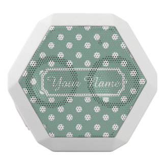 Mint Green and White Polka Dots Personalized White Boombot Rex Bluetooth Speaker