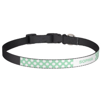 Mint Green And White Polka Dots With Custom Name Pet Collars