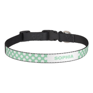 Mint Green And White Polka Dots With Custom Name Dog Collars