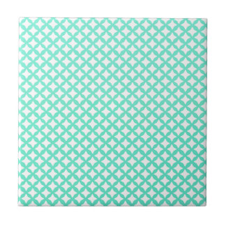 Mint Green And White Seamless Mesh Pattern Small Square Tile