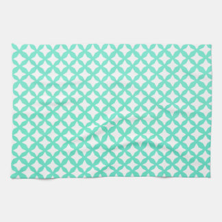 Mint Green And White Seamless Mesh Pattern Tea Towel