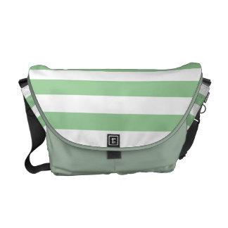 Mint Green and White Stripe Pattern Courier Bag
