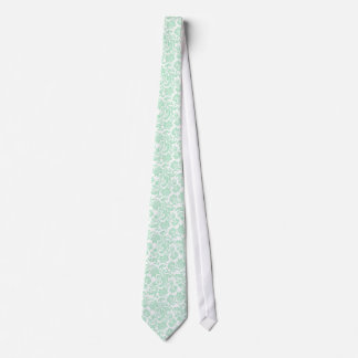 Mint Green And White Vintage Floral Damasks 4 Tie