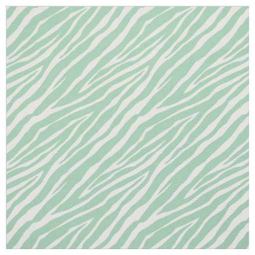 Mint Green and White Zebra Print Stripes Fabric