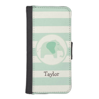 Mint Green Baby Elephant with Polka Dots Phone Wallet