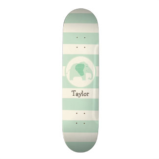 Mint Green Baby Elephant with Polka Dots Skate Board