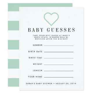 Mint Green Baby Shower Guessing Game Card