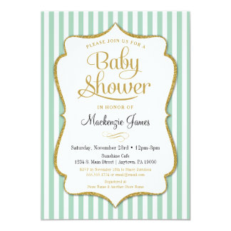 Mint Green Baby Shower Invitation Neutral Boy Girl