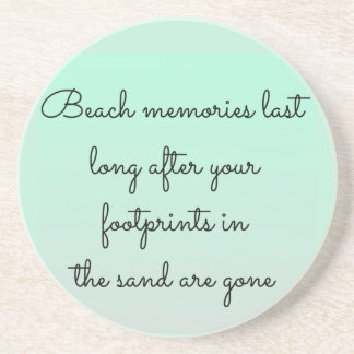 Mint Green Beach Lovers Memories Typography Quote Coaster