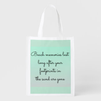 Mint Green Beach Lovers Memories Typography Quote Reusable Grocery Bag