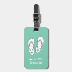 Mint green beach slippers travel luggage tags