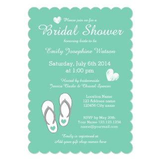 "Mint green beach theme bridal shower invitations 5"" x 7"" invitation card"