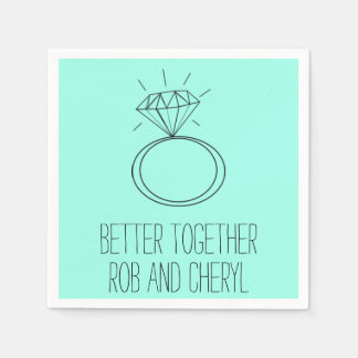Mint Green Better Together Engagement Party Napkin Paper Serviettes