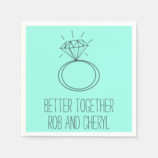Mint Green Better Together Engagement Party Napkin Paper