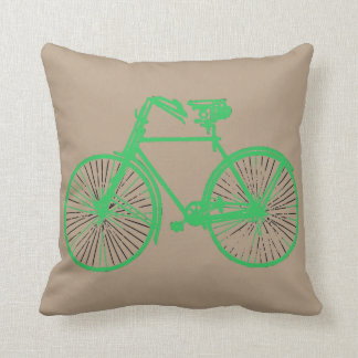 Mint green bike bicycle taupe Throw pillow