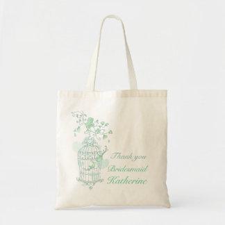Mint green birds wedding attendant bag