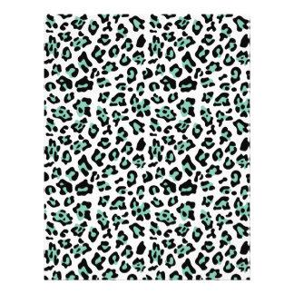 Mint Green Black Leopard Animal Print Pattern 21.5 Cm X 28 Cm Flyer