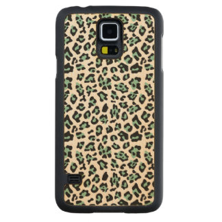 Mint Green Black Leopard Animal Print Pattern Carved® Maple Galaxy S5 Slim Case