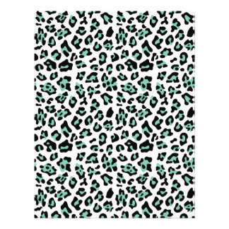 Mint Green Black Leopard Animal Print Pattern Flyer