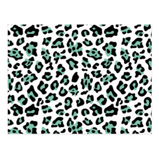 Mint Green Black Leopard Animal Print Pattern Postcard