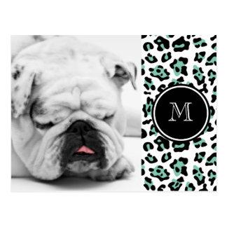 Mint Green Black Leopard Animal Print with Monogra Postcard
