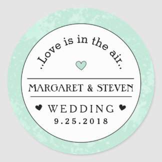 Mint Green Black & White Wedding Custom Names Love Round Sticker