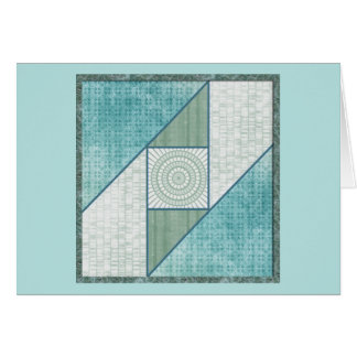 Mint Green & Blue Attic Window Quilt Square Card