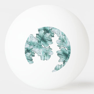 Mint Green Blue Illustrated Flower Ping-Pong Ball