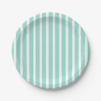 Mint Green Blue Stripes Wedding Party Paper Plate