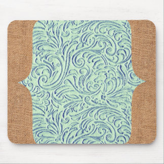 Mint Green Blue Vintage Scrollwork + Burlap Design Mouse Mat