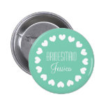 Mint green bridesmaid button with white hearts