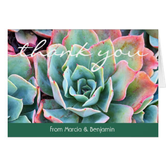 Mint green cactus photo custom name thank you note card