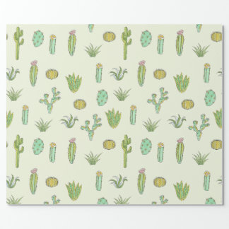 Mint Green Cactus Print Wrapping Paper