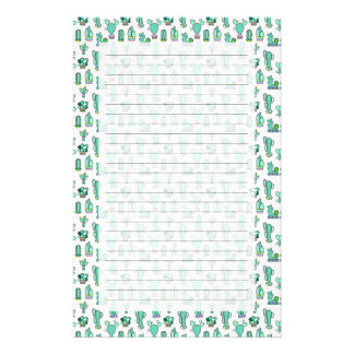 Mint Green Cactus & Succulent Plant Pattern Stationery