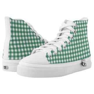 Mint Green Check Pattern High Tops