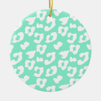 Mint Green Cheetah Leopard Print Christmas Ornament